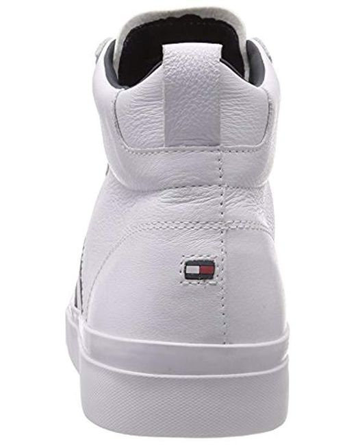 e762cad456c7 ... Tommy Hilfiger - White Flag Detail High Leather Sneaker Hi-top Trainers  for Men ...