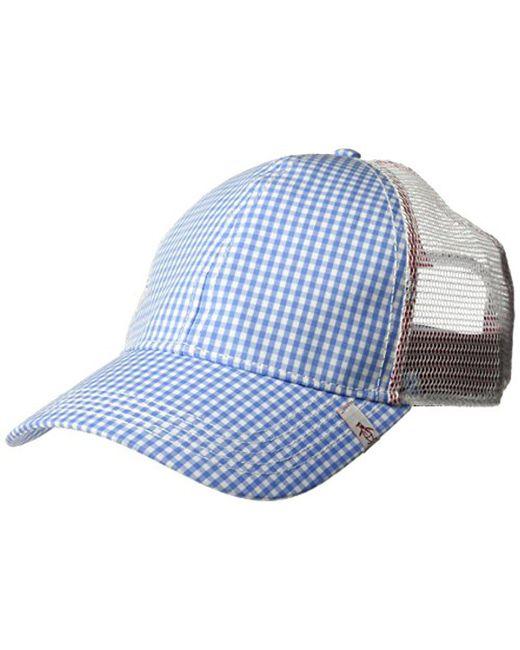 d7dd13a67e969 Original Penguin - Blue Gingham Mesh Back Baseball Cap for Men - Lyst ...