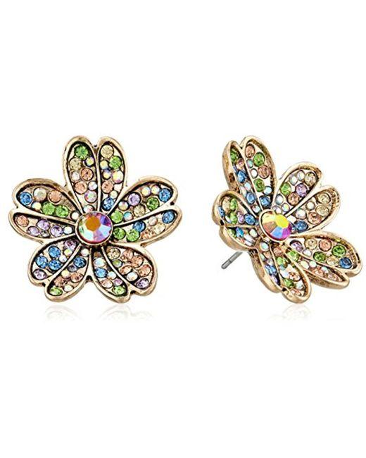 Betsey Johnson - S Multicolored Stone Flower Stud Earrings - Lyst