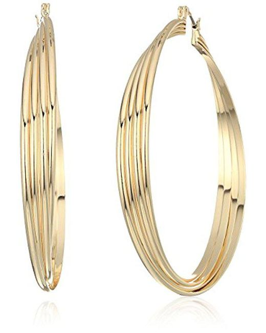 Kenneth Cole - Metallic S Extra Large Trinity Rings Twisted Hoop Earrings - Lyst