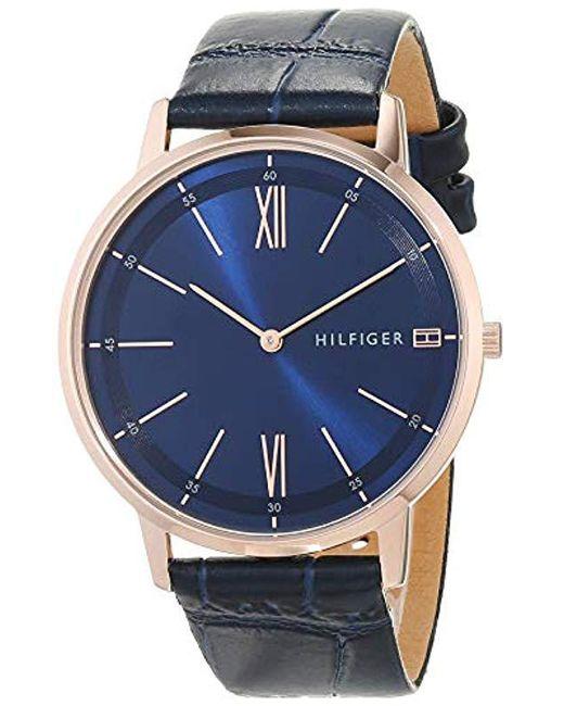 8ebc450737e4 Tommy Hilfiger - Blue Reloj Analógico para Hombre de Cuarzo con Correa en  Cuero 1791515 for ...