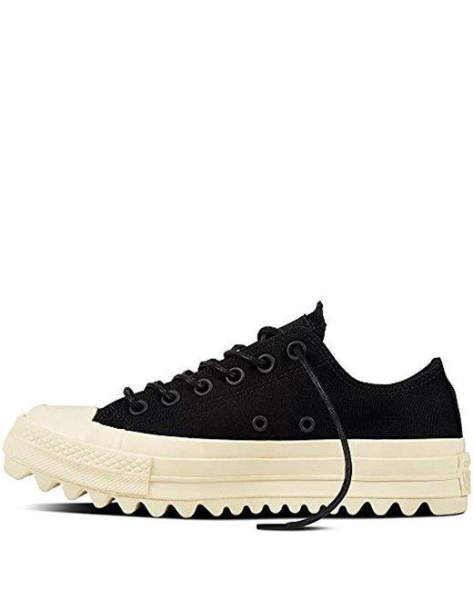 Women's Black Chuck Taylor Ctas Lift Ripple Ox Canvas Fitness Shoes