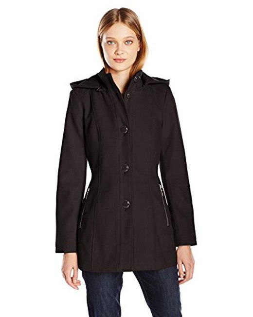 Kensie - Black Button Up Wool Jacket With Knit Collar And Fully Removable Hood - Lyst