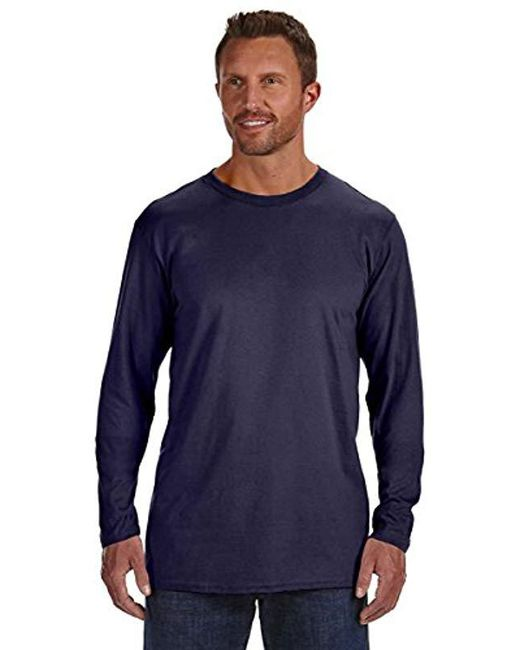 Lyst Hanes Long Sleeve Premium T Shirt Pack Of 2 In Blue For Men