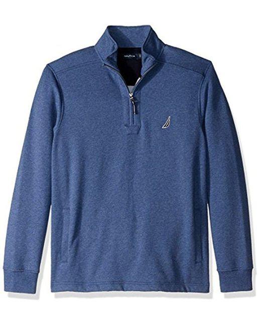 Nautica - Blue Quarter-zip Fleece Sweatshirt for Men - Lyst