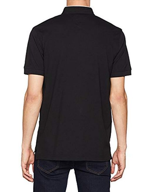 Men's Black Tipped Mao Collar Regular Polo Shirt