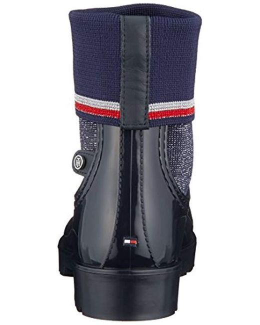 19f80a0f95b ... Tommy Hilfiger - Blue Knitted Sock Rain Boot Wellington - Lyst ...