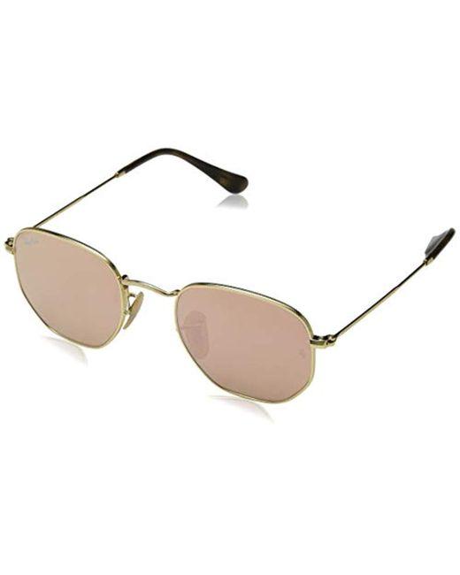 bb5b8070ea Ray-Ban - Metallic Hexagonal Flat Lens Sunglasses In Gold Copper Flash  Rb3548n 001  ...