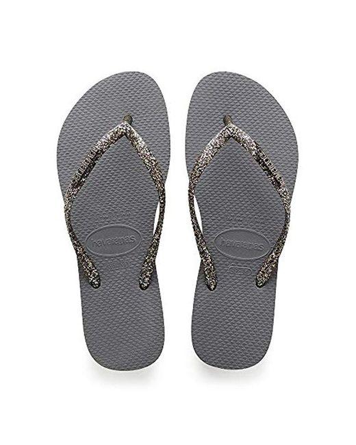 Havaianas - Gray Slim Logo Metallic, Flip Flops - Lyst