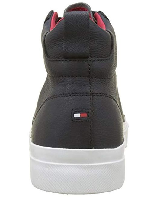 91b7e50e8cb4 ... Tommy Hilfiger - Blue Flag Detail High Leather Sneaker Hi-top Trainers  for Men ...