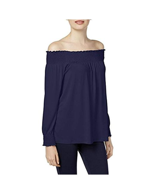 Calvin Klein - Blue Off-the-shoulder Blouse Pullover Top - Lyst