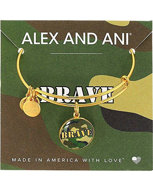 ALEX AND ANI - Metallic Armed Forces Brave, Expandable Wire Bangle Charm Bracelet - Lyst