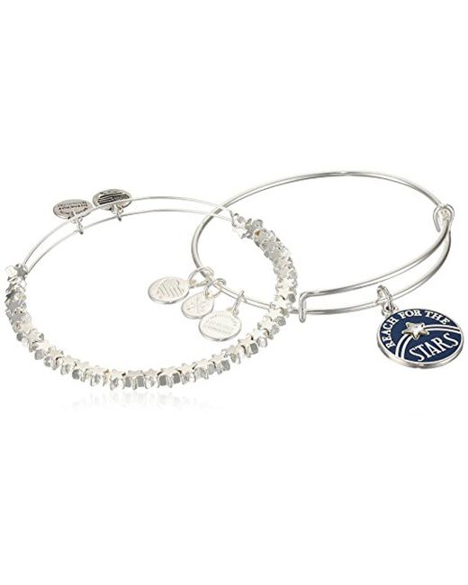 ALEX AND ANI - Metallic S Reach For The Stars Set Of 2 Bangle Bracelet, Shiny Silver, Expandable - Lyst
