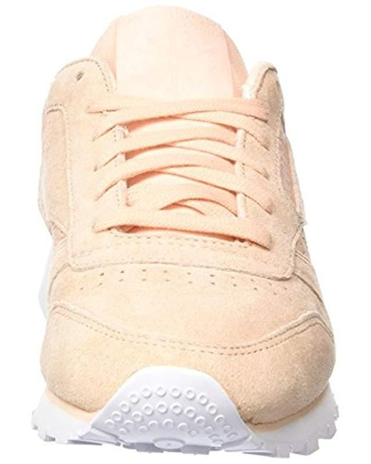 59a453908d4 ... Reebok - Natural Classic Leather Woven Emb Trainers - Lyst ...