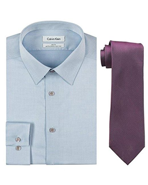 CALVIN KLEIN 205W39NYC - Blue Slim Fit Herringbone Dress Shirt And Silver Spun Tie Combo for Men - Lyst