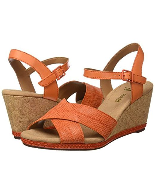 7e1c86251a7 Clarks  s Helio Latitude Wedge Heels Sandals in Orange - Lyst