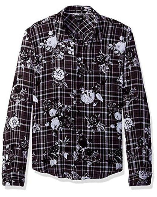 Guess - Black Long Sleeve Mosh Floral Plaid Shirt for Men - Lyst