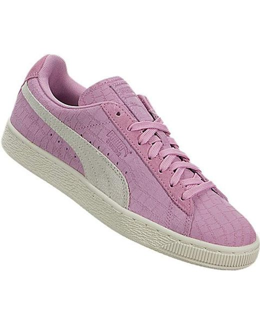 d94bdc793c5e Lyst - PUMA Suede Classic Croc Emboss Wn s Fashion Sneaker in Pink ...