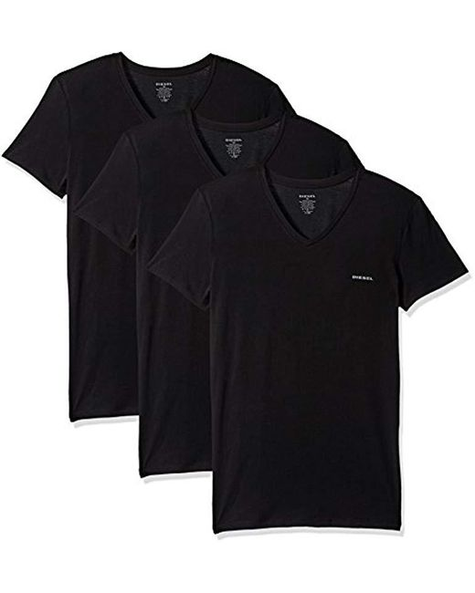 DIESEL - Black Umtee-michael3pack V-neck T-shirt for Men - Lyst