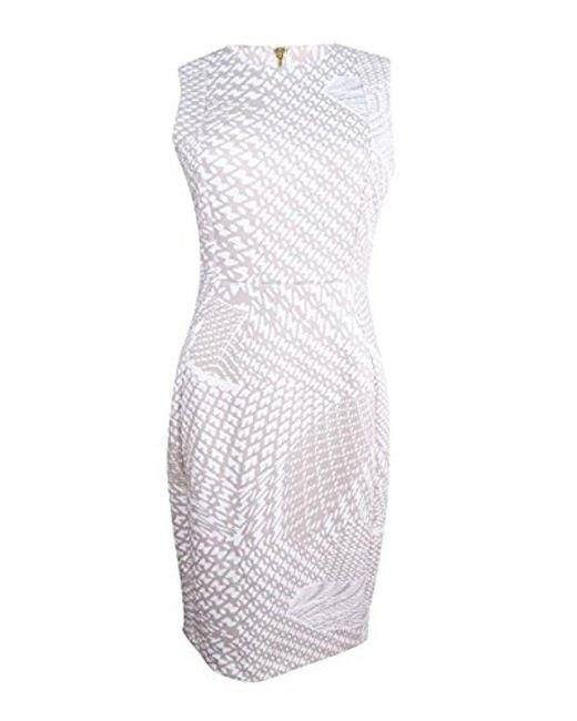 CALVIN KLEIN 205W39NYC - White Flocked Fabric Sheath Dress - Lyst