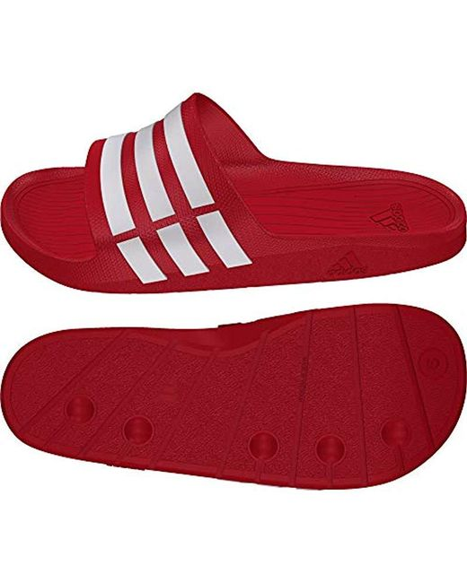 f080db0f3f49 ... Adidas - Red Unisex Adult Duramo Slide Open Toe Sandals for Men - Lyst  ...