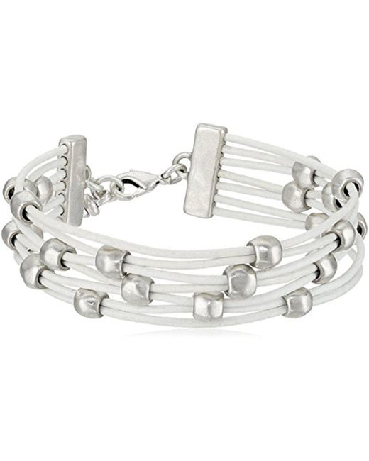 Lucky Brand - Metallic Leather With Beads Bracelet - Lyst