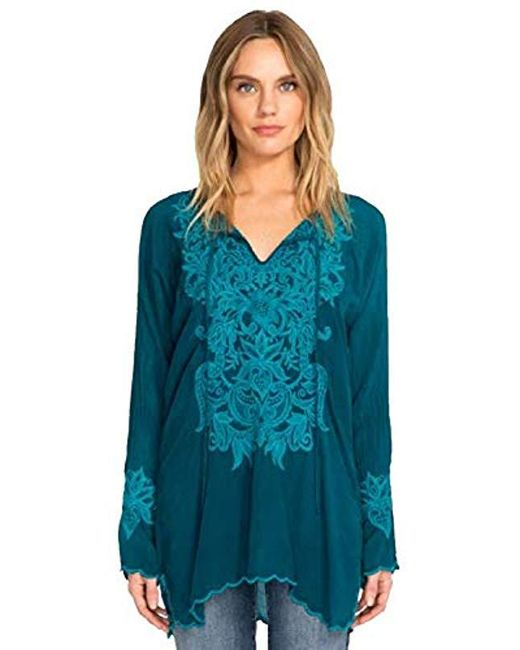 3f05831c3 Johnny Was 3/4 Sleeve Keyhold Embroidered Tunic in Blue - Save 15 ...