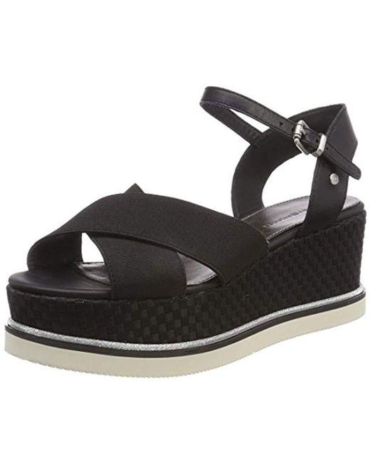 Tommy Hilfiger - Black ''s Sporty Stretch Flatform Sandals - Lyst