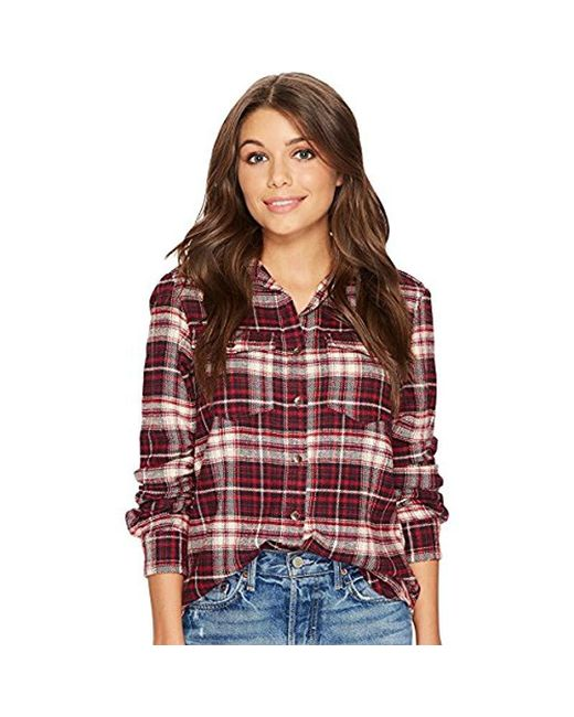Billabong - Red Long Venture Out Plaid Top - Lyst