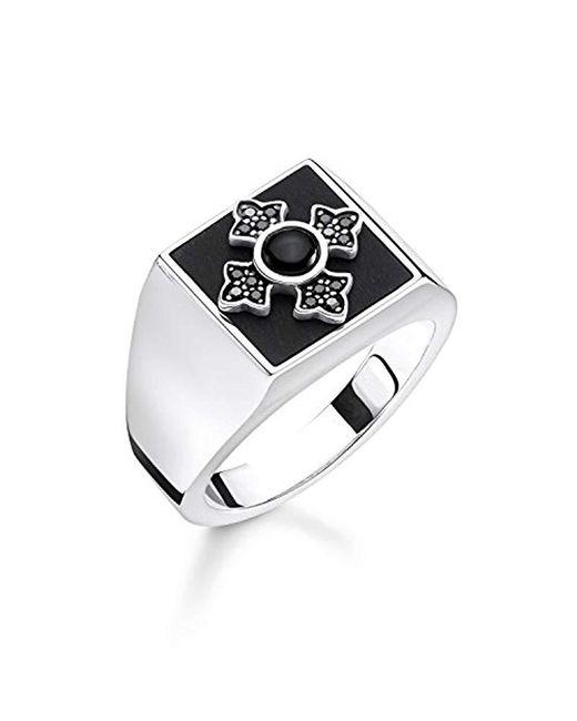 Thomas Sabo - Metallic Unisex Ring Royalty Kreuz 925er Sterlingsilber, Geschwärzt TR2209-641-11 for Men - Lyst