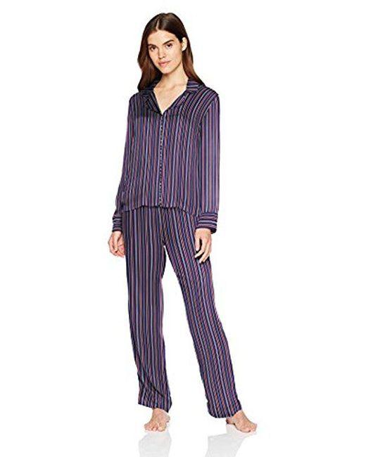 Splendid - Blue Button Up Long Sleeve Top And Bottom Classic Pajama Set Pj - Lyst