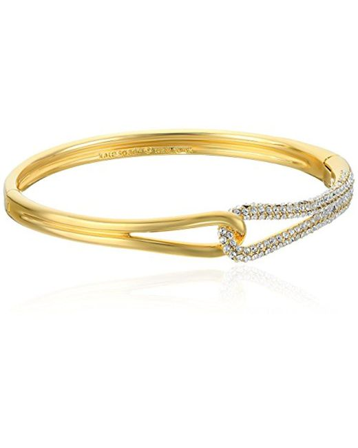 Kate Spade - Metallic Pave Loop Clear/gold Bangle Bracelet - Lyst