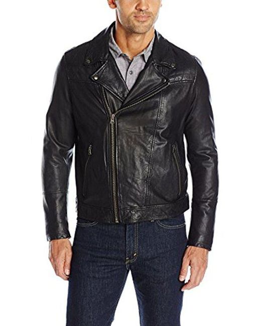 Levi's - Black Rugged Leather Motorcycle Jacket for Men - Lyst