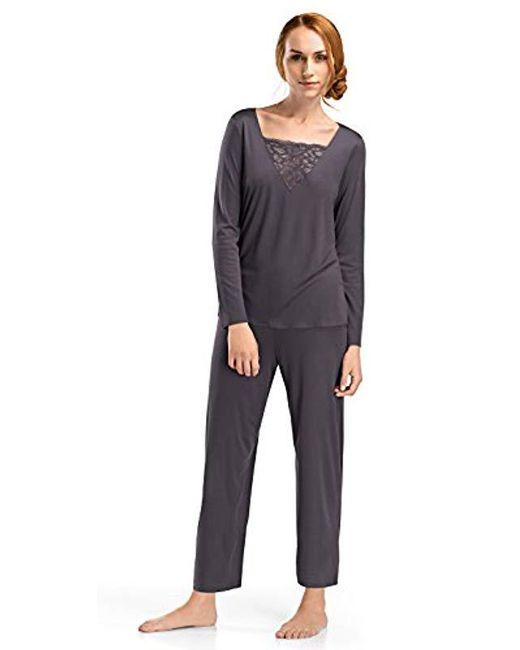 Hanro - Gray Camille Long Sleeve Shirt - Lyst