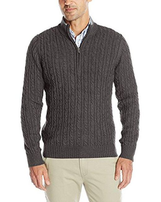 Izod - Gray Cable Solid 1/4 Zip Sweater, for Men - Lyst