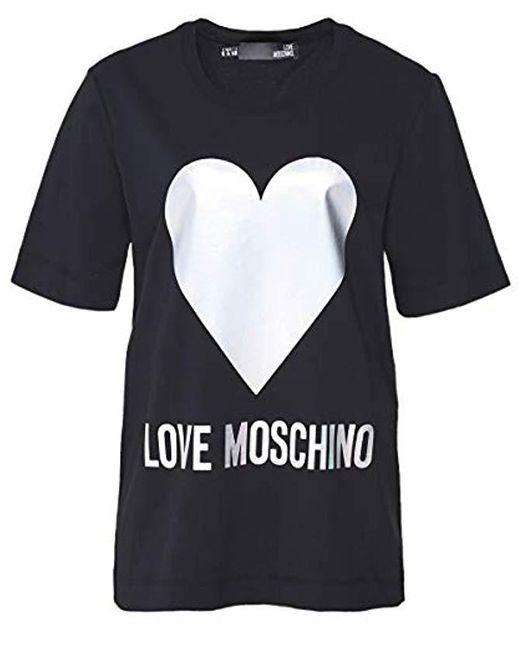 Love Moschino Black Regular Fit Short Sleeve T-shirt_iridescent Foil Heart & Logo Print