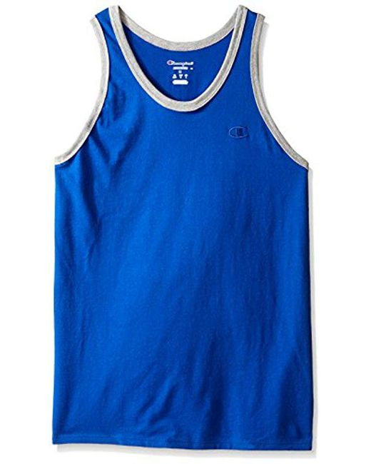 0836aafbca2f2a Lyst - Champion Classic Jersey Ringer Tank Top in Blue - Save 6.25%