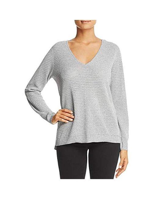 NYDJ Gray Metallic Double V-neck Sweater