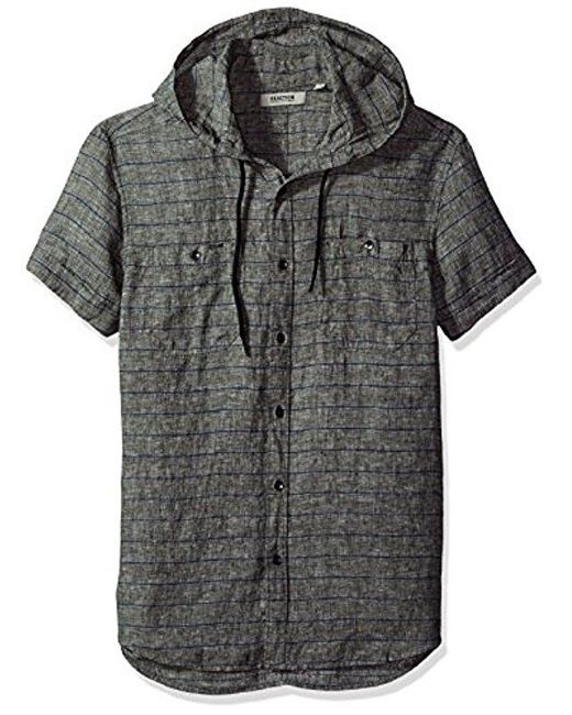 Kenneth Cole Reaction - Black Short Sleeve Hood Horizontal Multi Spripe Woven Shirt for Men - Lyst