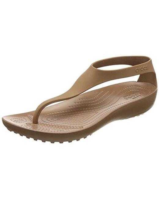 fbab88b8a Crocs™ - Brown Serena Flip Flop - Lyst ...