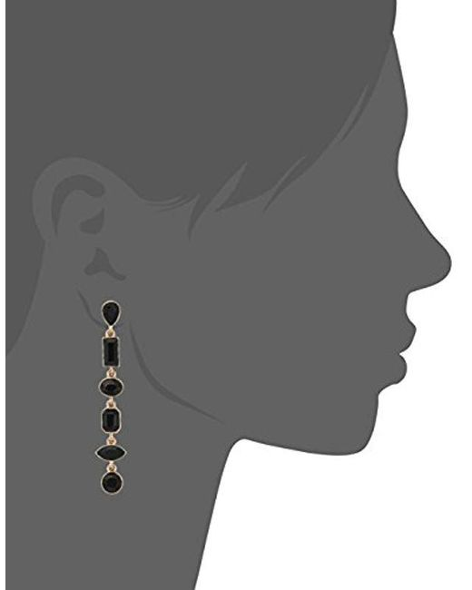 Guess - Metallic Mismatched Ears Post Drop Jet Stone Earrings, Gold, One Size - Lyst