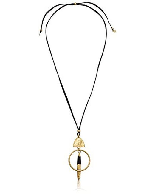 lyst s wrapped brand jewelry leather in lucky metallic necklace gold