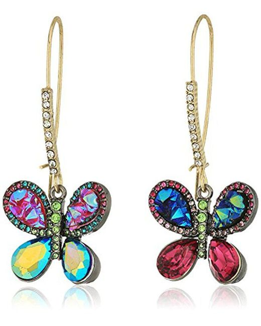 Betsey Johnson - S Multicolor Butterfly Drop Earrings - Lyst
