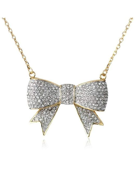 """Juicy Couture - Metallic Pave Bow Necklace, 16"""" - Lyst"""