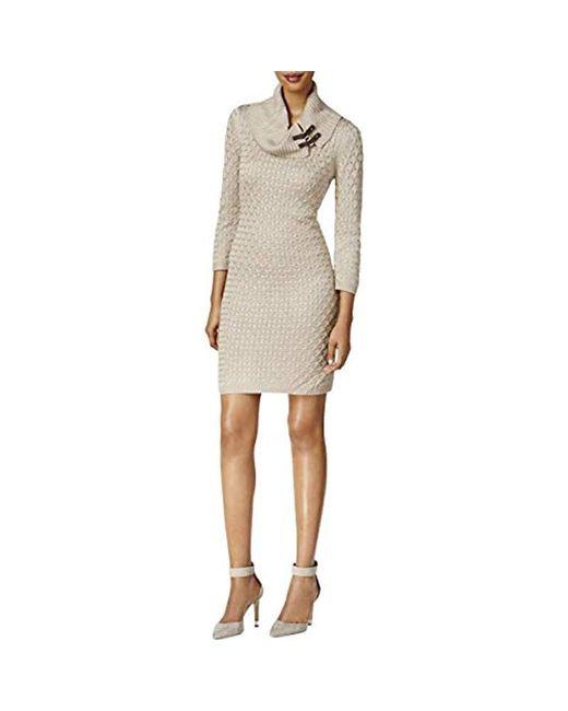 Calvin Klein - Natural Waffle Knit Turtleneck Sweater Dress - Lyst