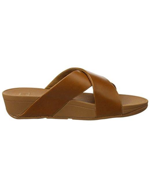 ce839a0c46f4 Fitflop Lulu Cross Slide Open Toe Sandals in Brown - Save 25% - Lyst