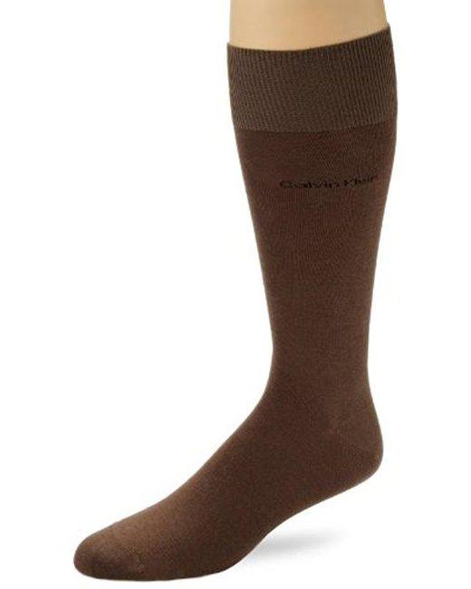 Calvin Klein - Brown Egyptian Cotton Dress Socks for Men - Lyst