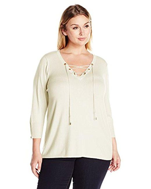 Lyst - Calvin Klein Fine Guage Lace Up Sweater in White - Save 54% 75363c1eb