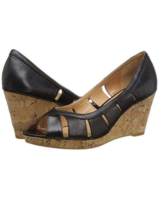 3cf4d03dc9ac ... Nine West - Black Jumbalia Leather Wedge Sandal - Lyst ...