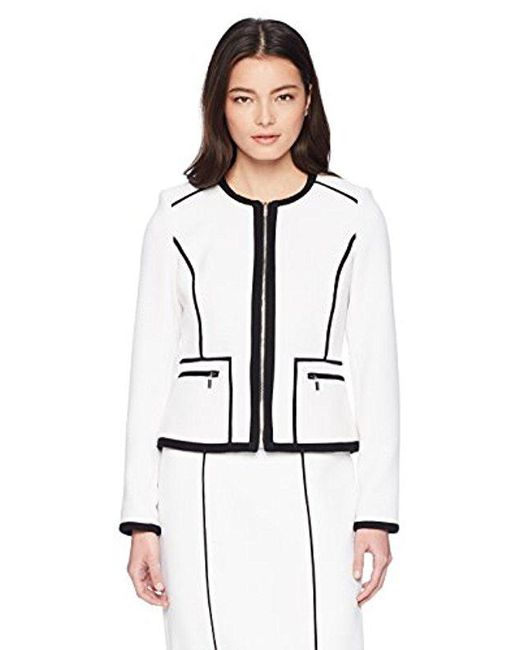 Calvin Klein - White Petite Knit Zipper Front Piped Jacket - Lyst